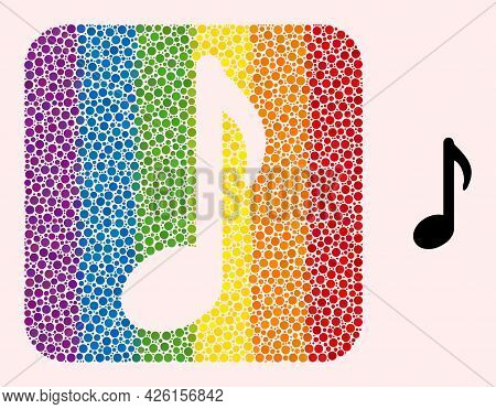 Dot Mosaic Music Note Stencil Pictogram For Lgbt. Multicolored Rounded Rectangle Mosaic Is Around Mu