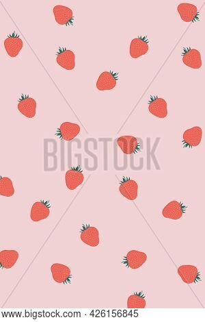 Vector Strawberry Set. Bright Pink Strawberry. Pattern, Wallpaper, Textiles, Coloring