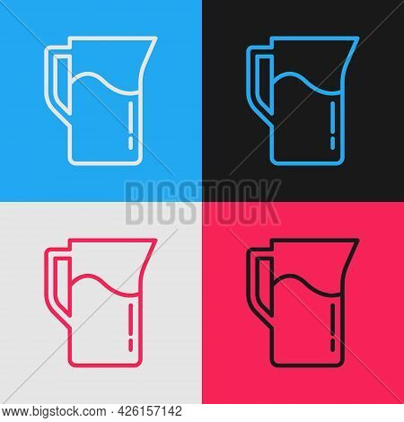 Pop Art Line Milk Jug Or Pitcher Icon Isolated On Color Background. Vector