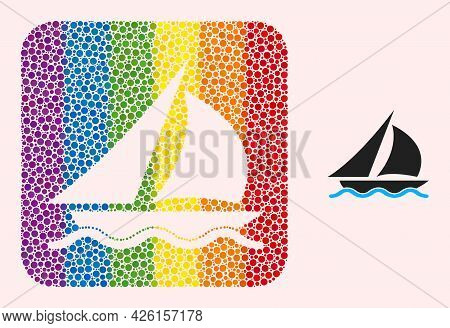 Dotted Mosaic Sailing Hole Pictogram For Lgbt. Colorful Rounded Square Mosaic Is Around Sailing Hole