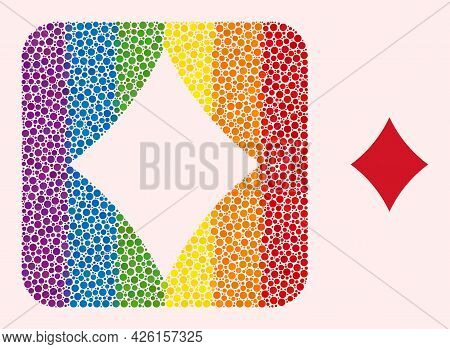 Dotted Mosaic Playing Card Diamond Suit Carved Pictogram For Lgbt. Rainbow Colored Rounded Square Co
