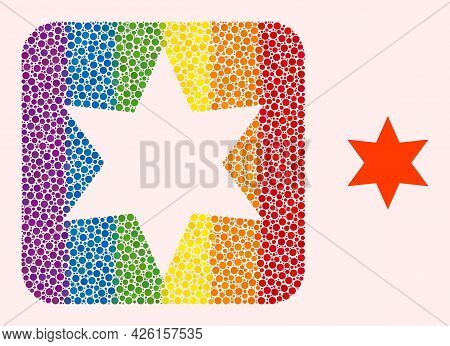 Dot Mosaic Six Pointed Star Subtracted Pictogram For Lgbt. Colorful Rounded Square Mosaic Is Around