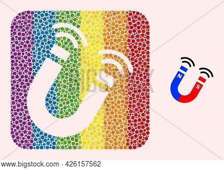 Dotted Mosaic Magnet Field Hole Icon For Lgbt. Rainbow Colored Rounded Square Mosaic Is Around Magne