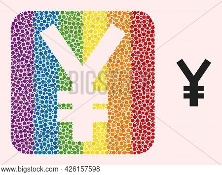 Dot Mosaic Yen Symbol Subtracted Pictogram For Lgbt. Colorful Rounded Rectangle Mosaic Is Around Yen
