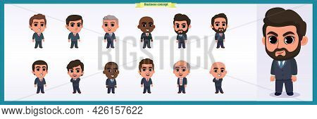 Collection Of Charming Entrepreneurs Or Businessmen And Managers. Business People Standing Together.