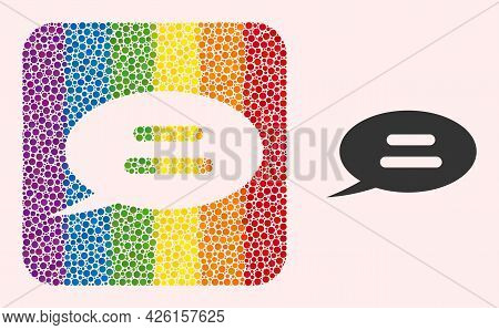 Dot Mosaic Text Message Hole Icon For Lgbt. Rainbow Colored Rounded Square Collage Is Around Text Me