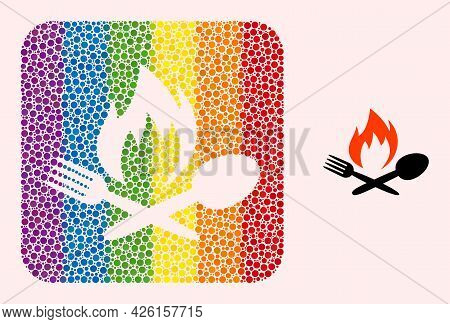 Dot Mosaic Hot Food Stencil Pictogram For Lgbt. Rainbow Colored Rounded Rectangle Mosaic Is Around H