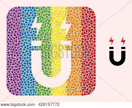Dotted Mosaic Horseshoe Magnet Subtracted Icon For Lgbt. Rainbow Colored Rounded Square Mosaic Is Ar