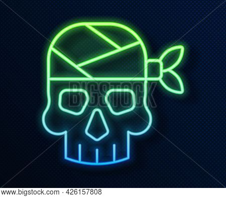 Glowing Neon Line Pirate Captain Icon Isolated On Blue Background. Vector