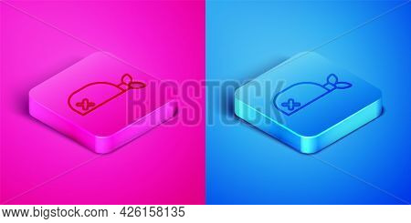 Isometric Line Pirate Bandana For Head Icon Isolated On Pink And Blue Background. Square Button. Vec