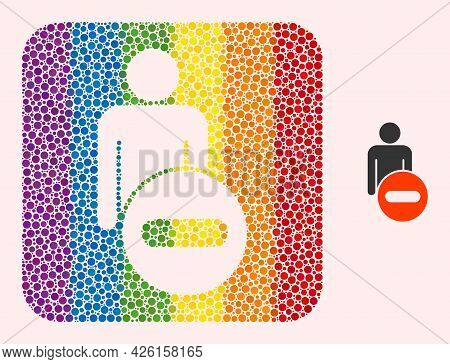 Dot Mosaic Remove Man Figure Hole Pictogram For Lgbt. Rainbow Colored Rounded Rectangle Mosaic Is Ar