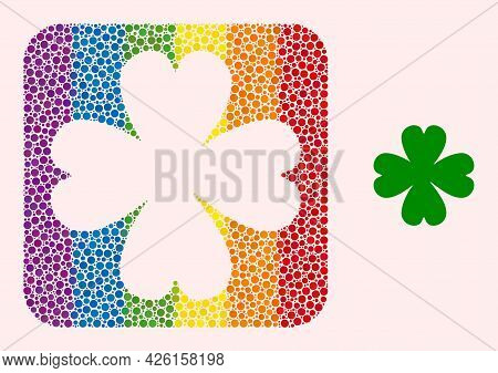 Dot Mosaic Four Leaf Clover Hole Pictogram For Lgbt. Color Rounded Rectangle Mosaic Is Around Four L