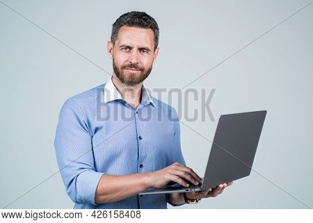 Confident Guy Work Online. Agile Business Success. Successful Male Realtor. Broker With Computer. Co