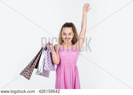 Customer Or Shopper Child Isolated On White. Happy Childhood. Shopaholic.