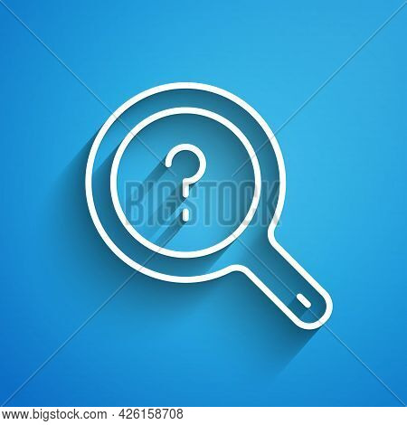 White Line Unknown Search Icon Isolated On Blue Background. Magnifying Glass And Question Mark. Long