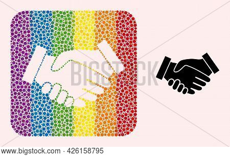 Dot Mosaic Handshake Subtracted Icon For Lgbt. Rainbow Colored Rounded Rectangle Mosaic Is Around Ha