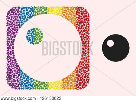 Dot Mosaic Sphere Carved Icon For Lgbt. Multicolored Rounded Square Mosaic Is Around Sphere Carved S