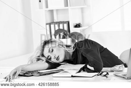 Sleeping Beauty. Workaholic Concept. Energy And Tiredness. Girl Fell Asleep On Table. Pretty Woman S