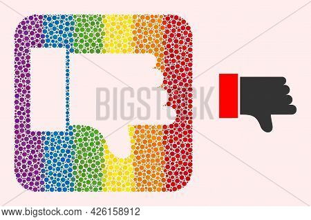 Dot Mosaic Thumb Down Hole Pictogram For Lgbt. Rainbow Colored Rounded Square Mosaic Is Around Thumb