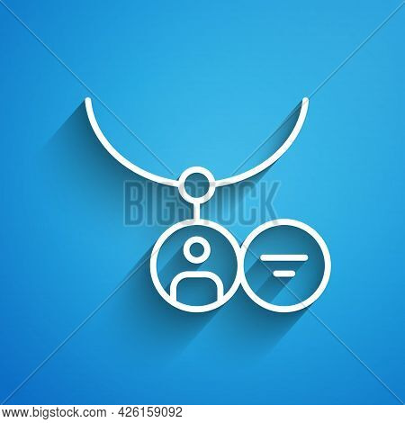White Line Locket On Necklace Icon Isolated On Blue Background. Long Shadow. Vector