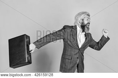 Businessman Hurry Up With Case. Brutal Mature Man In Jacket Carry Briefcase. Running To Business Mee