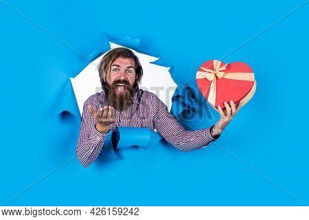 Romantic Greeting. Happy Birthday. Celebration Of Holiday. Cheerful Bearded Man Hold Heart Present B