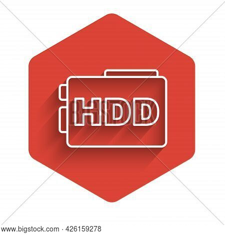 White Line Hard Disk Drive Hdd Icon Isolated With Long Shadow Background. Red Hexagon Button. Vector