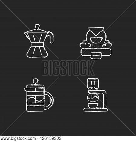 Coffee Making Appliance Chalk White Icons Set On Dark Background. Moka Pot. Professional Commercial