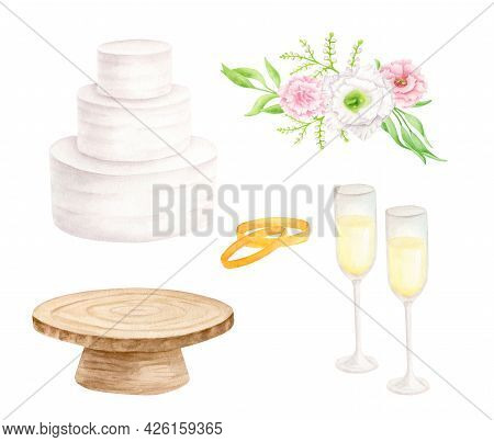 Watercolor Wedding Set. Hand Painted Tiered White Cream Cake, Rustic Wood Cake Stand, Champagne Glas