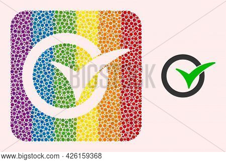 Dot Mosaic Yes Vote Stencil Pictogram For Lgbt. Rainbow Colored Rounded Square Mosaic Is Around Yes