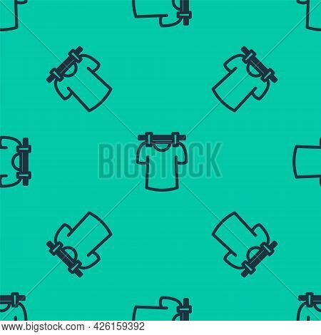 Blue Line Drying Clothes Icon Isolated Seamless Pattern On Green Background. Clean Shirt. Wash Cloth