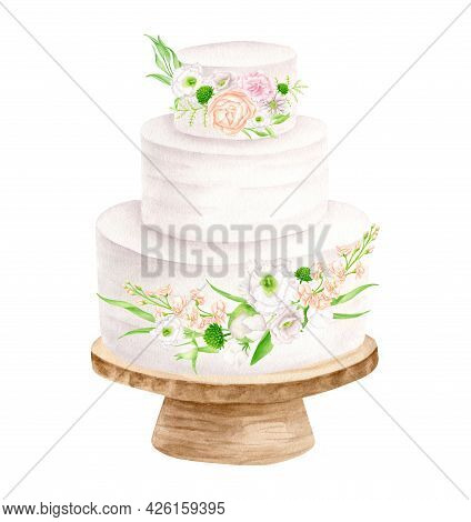 Watercolor Wedding Cake With Floral Arrangements On Wood Stand Illustration. Hand Drawn 3 Tiered Whi