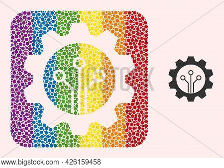 Dotted Mosaic Gear Sensor Subtracted Icon For Lgbt. Colorful Rounded Rectangle Mosaic Is Around Gear