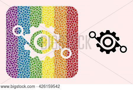 Dot Mosaic Gear Project Subtracted Icon For Lgbt. Rainbow Colored Rounded Square Mosaic Is Around Ge