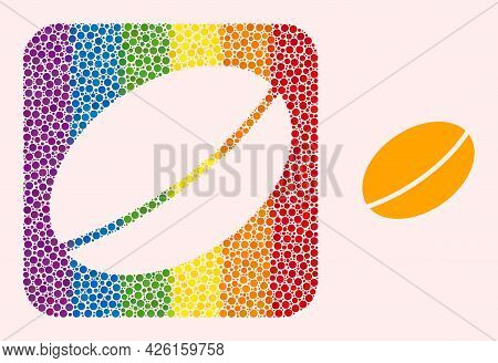Dotted Mosaic Wheet Seed Hole Pictogram For Lgbt. Rainbow Colored Rounded Square Mosaic Is Around Wh