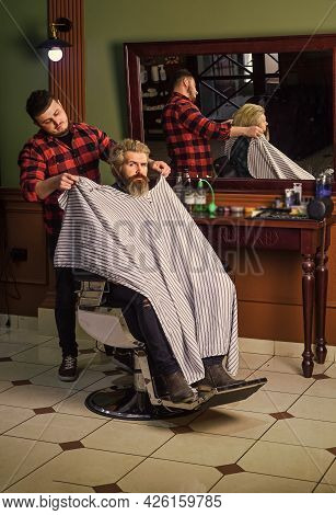 Hipster Client Getting Haircut. Barber And Hair Stylist Dedicate To Making You Better Looking Person