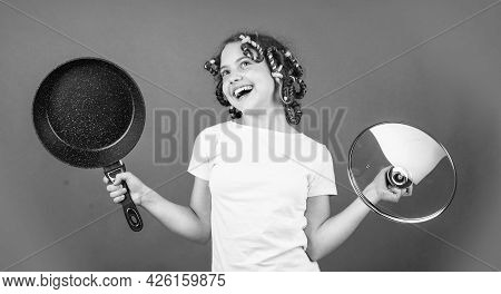 Just Inspired. Little Woman Hold Pan. Cooking In Kitchen. Concept Of Household. Child Cook At Home.