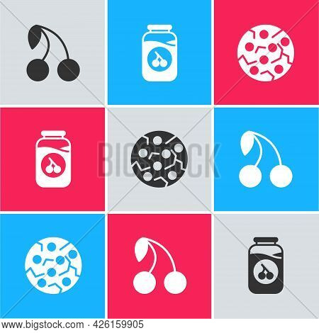 Set Cherry, Jam Jar And Cookie Or Biscuit Icon. Vector