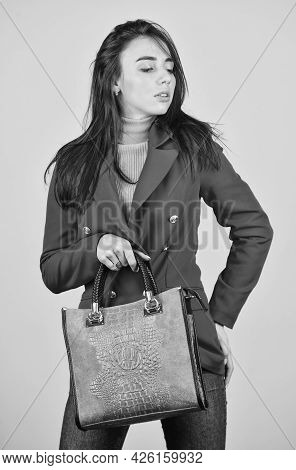 Fits Perfect. Beauty Brunette. Fashionable Woman In Jacket. Fashion Autumn Winter. Female Trendy Bea