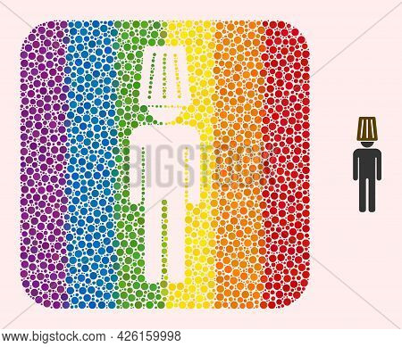 Dotted Mosaic Idiot Man Subtracted Pictogram For Lgbt. Multicolored Rounded Rectangle Mosaic Is Arou