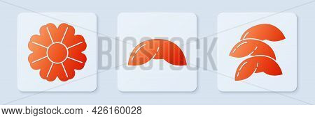 Set Chinese Fortune Cookie, Flower And Chinese Fortune Cookie. White Square Button. Vector