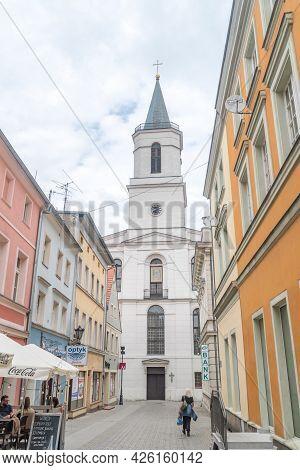 Zielona Gora, Poland - June 1, 2021: Tower Of Church Of Our Lady Of Czestochowa.