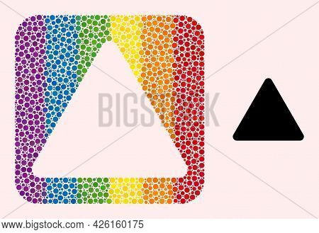 Dot Mosaic Rounded Triangle Stencil Icon For Lgbt. Rainbow Colored Rounded Square Mosaic Is Around R