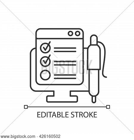 Online Form Linear Icon. Checklist For Task. Internet Questionnaire With Control Checklist. Thin Lin