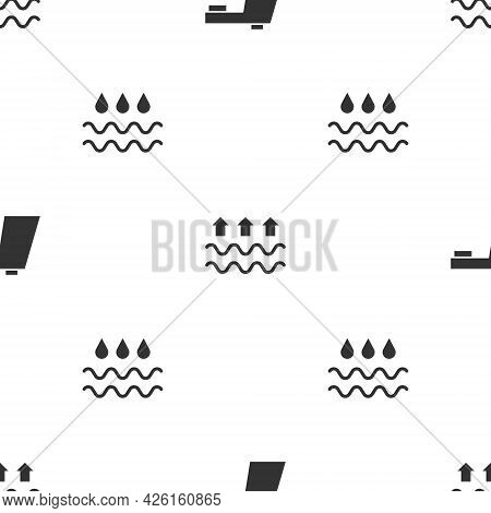 Set Water Tap, Waves Of Water And Evaporation And With Drop On Seamless Pattern. Vector