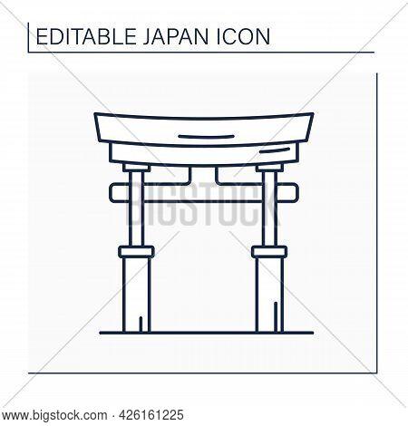 Shintoism Line Icon.east Asian Religion.philosophical Tradition. Religious Symbol. Animistic Fetishi