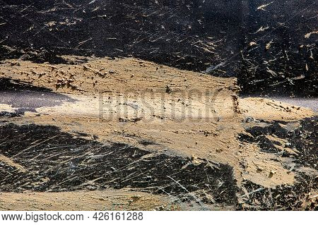 Texture Of The Surface Of A Dirty Car Splashed With A Swamp And Smeared Clay Dried To Matte Black Pa