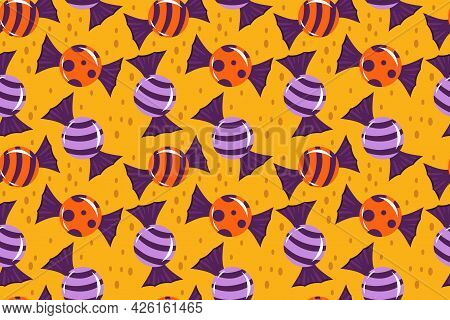 Seamless Pattern For Halloween With Candies, Lollipops. Vector Illustration In Cartoon Style. The Ba