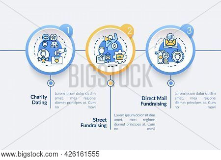 Fundraising Kinds Vector Infographic Template. Raise Funds On Street Presentation Outline Design Ele