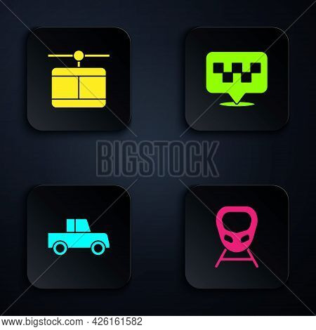 Set High-speed Train, Cable Car, Car And Location With Taxi. Black Square Button. Vector